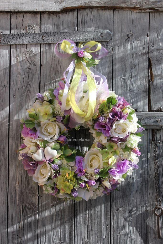 Wianek Z Kwiatów Prowansji ślubweselekomunia Dekoracje Do Domu