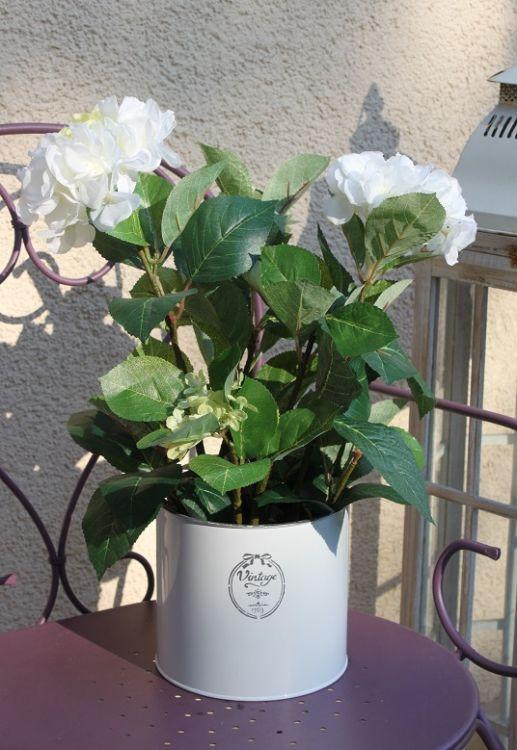 Biała Hortensja W Doniczce Sztuczne Kwiatykompozycja Kwiatowaozdobadekoracja