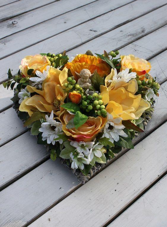 Stroik Serce W Kolorach Słońca Dekoracja Na Cmentarzna Wszystkich świętych