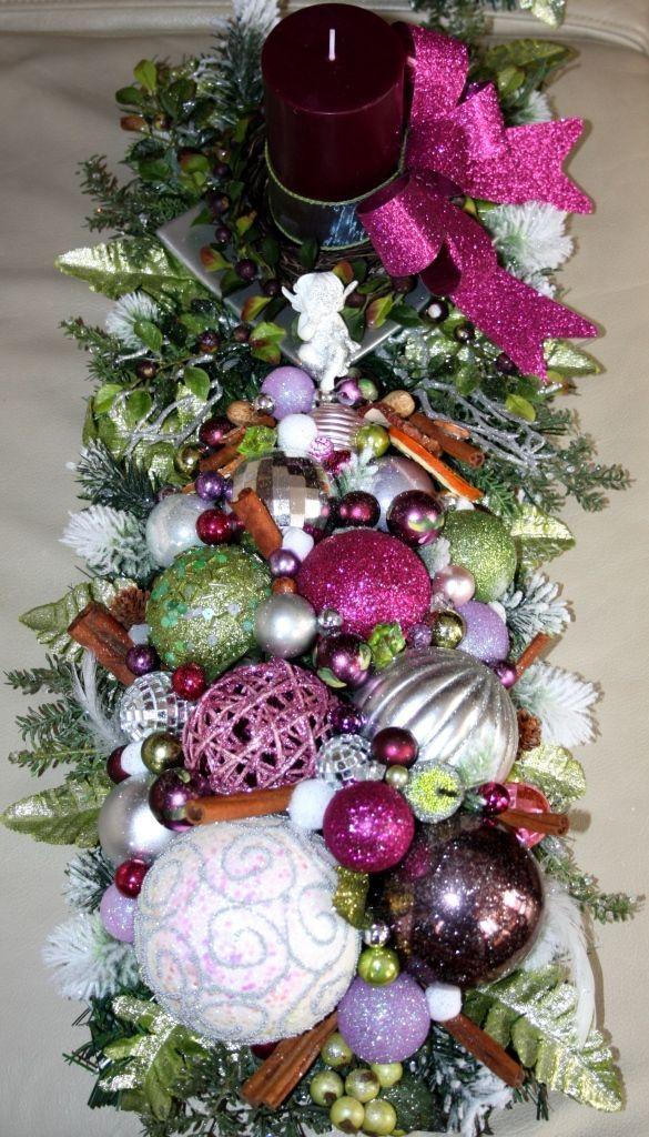 Stroik świąteczny Ze świecą Na Wigilijny Stół Ozdoby świąteczne Dekoracje Na Boże Narodzenie
