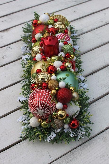 Stroik świąteczny W Złocie Ozdoby świąteczne Dekoracje Na Boże Narodzenie