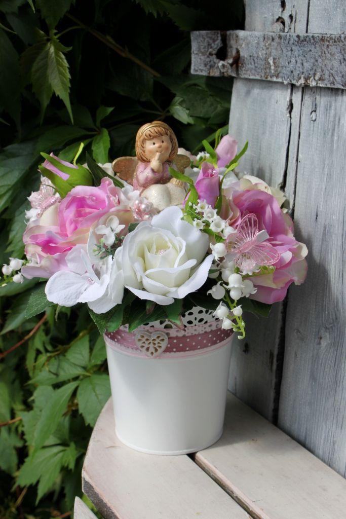 Stroik Z Aniołkiem W Różowej Sukience Dekoracja Na Cmentarzozdoba Grobu