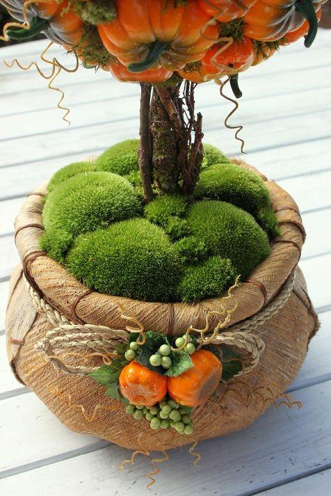 Drzewko z dyń w worku-stroik,kula jesienna,dynie,ozdoba